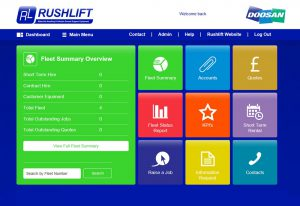 Logistics BusinessDoosan's wholly owned subsidiary Rushlift, is launching a new Fleet Management System (FMS). Originally developed in 2005, the latest revision of the website allows all customers access to real-time fleet information on a 24/7 basis. This ensures customers are optimising their materials handling equipment.   <br><br> Through Doosan Rushlift's IT team at the Northampton (UK) premises, the FMS website has been developed in-house allowing the company to maintain and update as and when required, ensuring that customers are always kept up-to-date with the latest FMS functionality and website enhancments. <br><br> Each customer is provided with their own login details, enabling them to have complete visibility of their equipment and its history; this new online system allows customers to log breakdowns on a 24/7 basis, monitor uptime and fleet utilisation, request and authorise quotes for repairs, as well as review accounts information. The major benefit here is that these improvements to the FMS website enables the customer to make informed decisions based on real time information.  <br><br> With the ability to log breakdowns and repairs online, there is no longer the need to make a phone call to report a problem. Once a job is registered online, the job is issued by the operations team to a Doosan Rushlift engineer, who will then action and arrange to resolve the problem.   <br><br> The 'Fleet Summary' section allows the customer to monitor progress of any breakdowns or repairs, providing a live indication of the estimated time of arrival of the engineer as well as an update on the status of the job. This is also updated to the customers via email, if required.  <br><br> Live information is fed into the FMS website from the engineer's tablet whenever they visit site with all maintenance records being updated in real time. The Doosan Rushlift system provides important data on customer's equipment, including uptime, utilisation and other Key Performance 