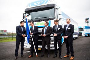 Logistics BusinessNXP Semiconductors N.V and DAF Trucks have successfully demonstrated self-driving technologies in automated trucks. The demonstration is part of the European Truck Platooning Challenge, an event organised by the Dutch Ministry of Infrastructure and the Environment, that has trucks driving in columns (platooning) on public roads from several European cities to the Netherlands. The challenge is designed to bring autonomous platooning one step closer to implementation by showcasing economic, traffic management and safety advantages. It also addresses the need for legislation and standardisation of Intelligent Transportation Systems (ITS) across Europe, as current rules and regulations regarding speed and distance vary between countries. <br><br> Under the EcoTwin consortium, NXP, DAF, TNO and Ricardo joined forces to make this demonstration possible. The core of the 'EcoTwin' technology setup is a sophisticated vehicle-to-vehicle (V2V) communications solution, RoadLINK, developed by NXP. It uses the wireless communications standard IEEE 802.11p combined with NXP radar technology to empower the trucks within the platoon to securely exchange information in real time and automatically brake and accelerate in response to the lead truck. The high speed of communication and responsiveness of NXP RoadLINK technology allows extremely tight distances and truly synchronous driving between the platooning DAF Trucks: To demonstrate autonomous acceleration and braking, the planned distance between the vehicles is slated for 0.5 seconds – which, when traveling at 80 kph (50 mph), translates to a distance of only 10 metres (30 feet). The responsiveness of the trailing truck within the platoon is estimated at 25 times faster than the average human reaction time of o ne second – saving critical time in case of emergency braking. <br><br> The RoadLINK communication system designed by NXP is built into the mirrors of the DAF Trucks participating in the platoon. The redu